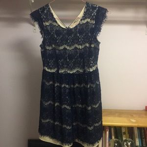 Blue and tan lace dress